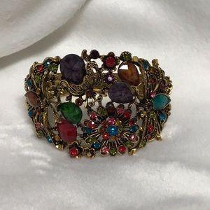 Bejeweled bangle bracelet multicolored floral